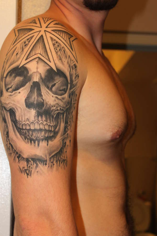 Iron Cross Skull tattoo