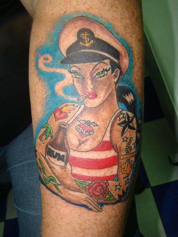 new skool sailor girl tattoo