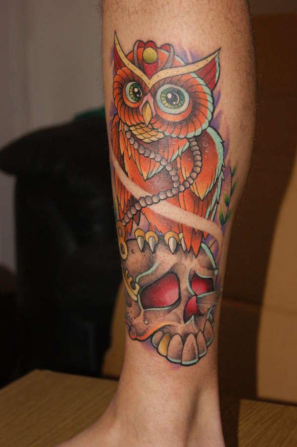 Simon Owl tattoo