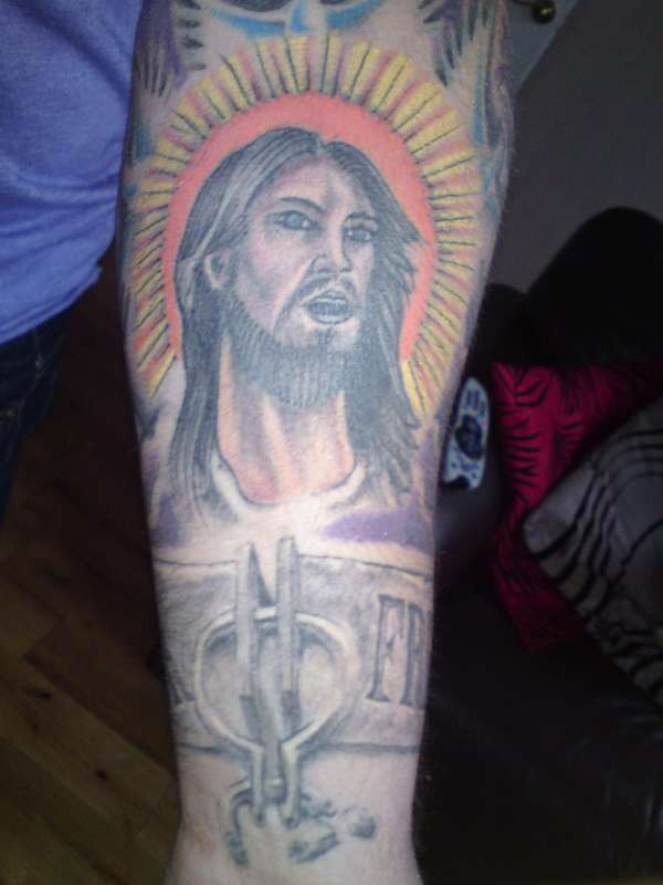 jesus looking up in heaven. tattoo