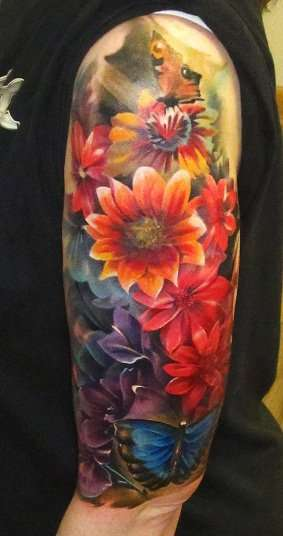 Flower sleeve 1 tattoo