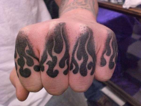 knuckle flames tattoo