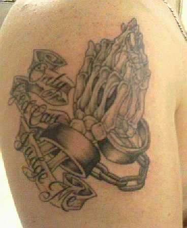 skeleton praying hands w cuffs n lettering tattoo. Black Bedroom Furniture Sets. Home Design Ideas