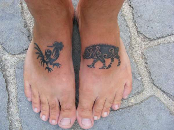 Feet Pig and Chicken tattoo