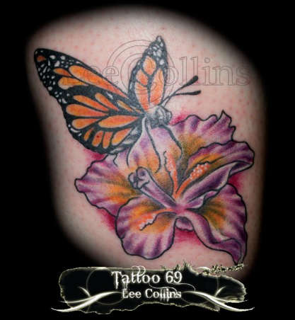 Monarch Butterfly On Flower Tattoo Monarch Butterfly On F...