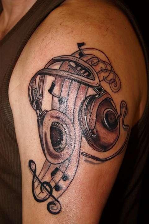 headphones and music tattoo