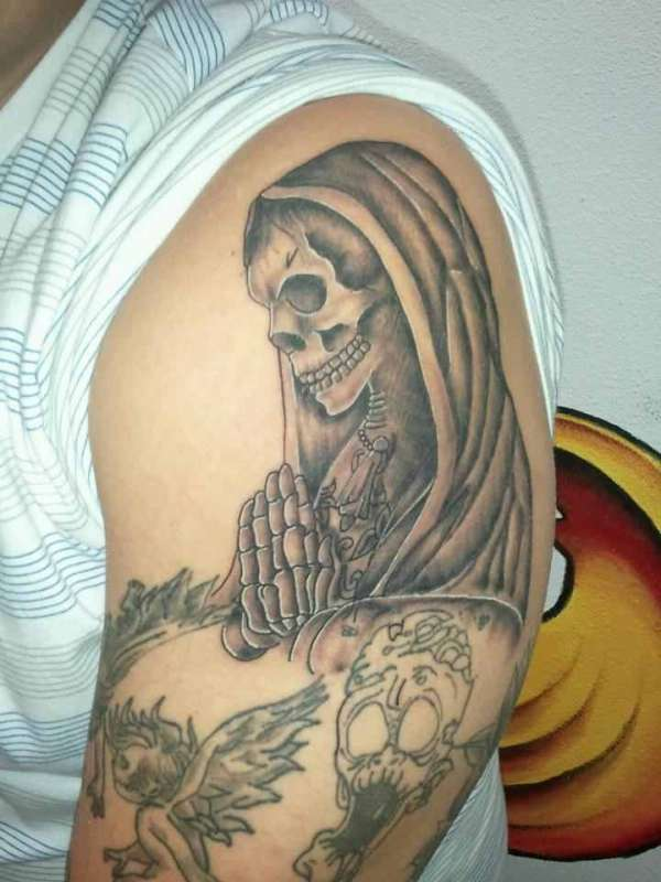 Praying Skeleton tattoo
