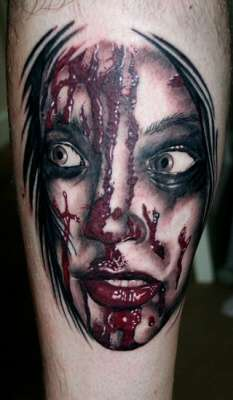 bloody face tattoo