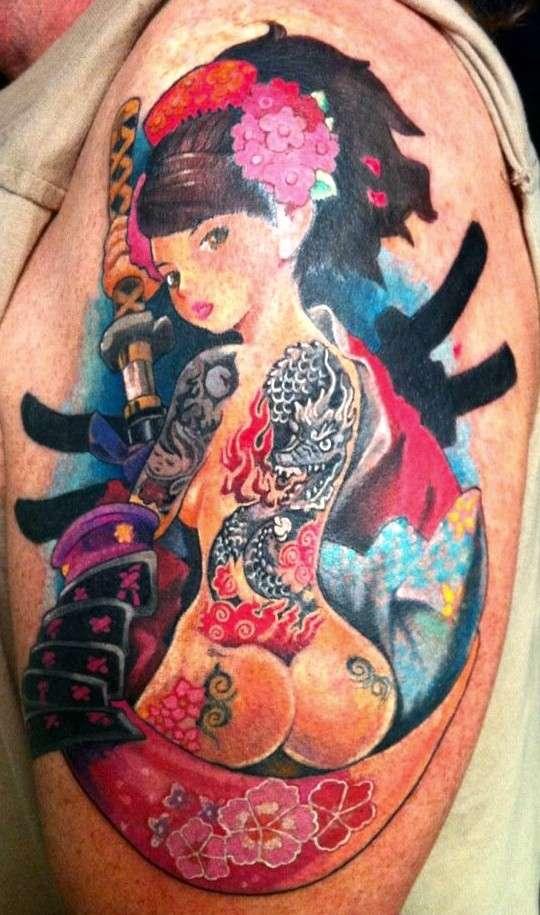 Oriental Pinup - Momohome tattoo