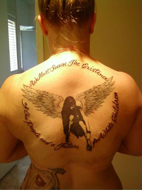 14 Words & Finished Dark Angel tattoo