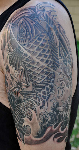 Black gray koi maple leaf tattoo for Grey koi fish