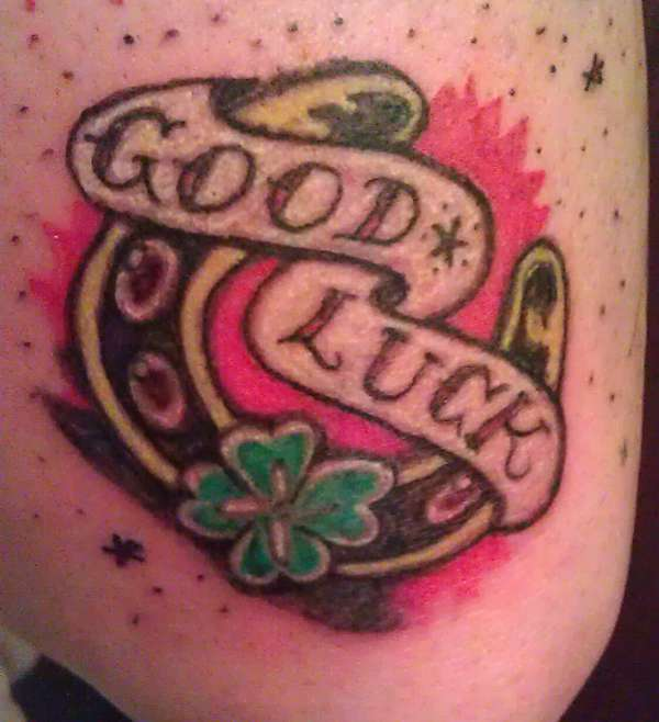 Old School Good Luck Horseshoe Shamrock Tattoo, trickstattoo tattoo