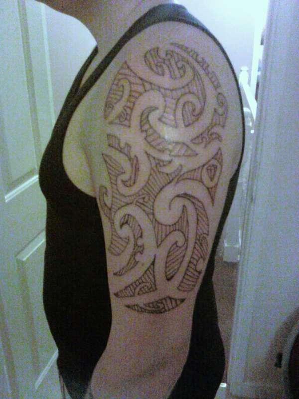 start of armpiece tattoo
