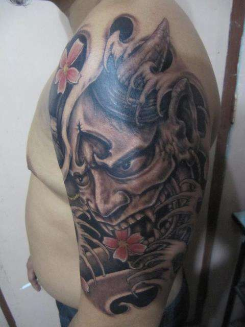 free hand hannya mask tattoo. Black Bedroom Furniture Sets. Home Design Ideas