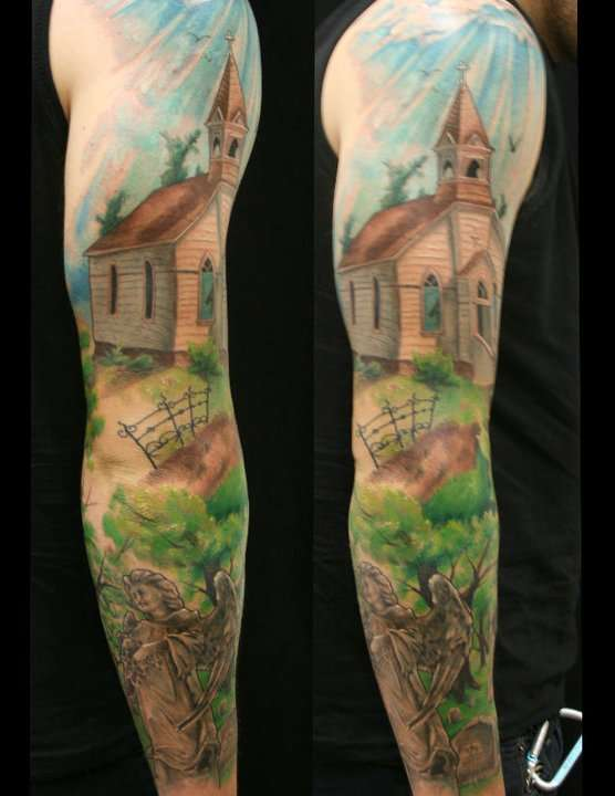 Church Yard Sleeve by Jackie Rabbit tattoo