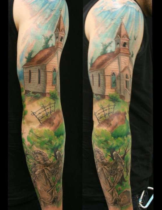 Church Yard Sleeve by Jackie Rabbit tattoo