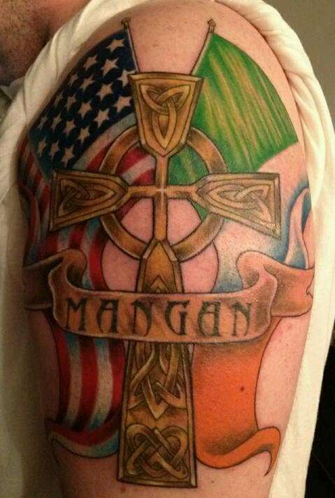 Irish and American flag with Celtic cross tattoo
