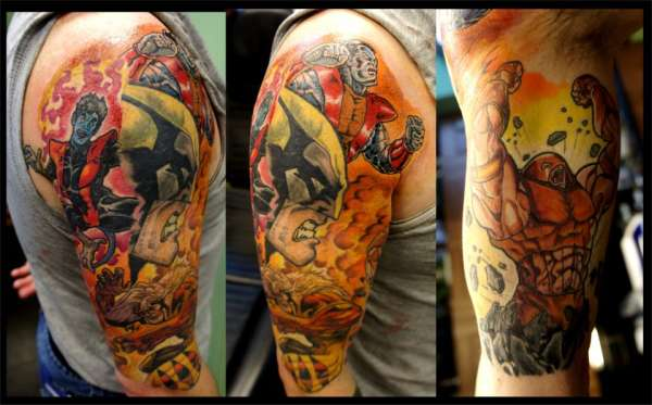 marvel half sleeve tattoo. Black Bedroom Furniture Sets. Home Design Ideas