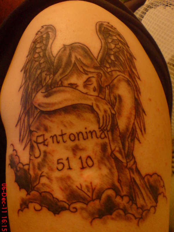 angel headstone memorial tattoo. Black Bedroom Furniture Sets. Home Design Ideas