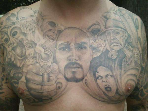 Chest plate tattoo for Chest plate tattoos