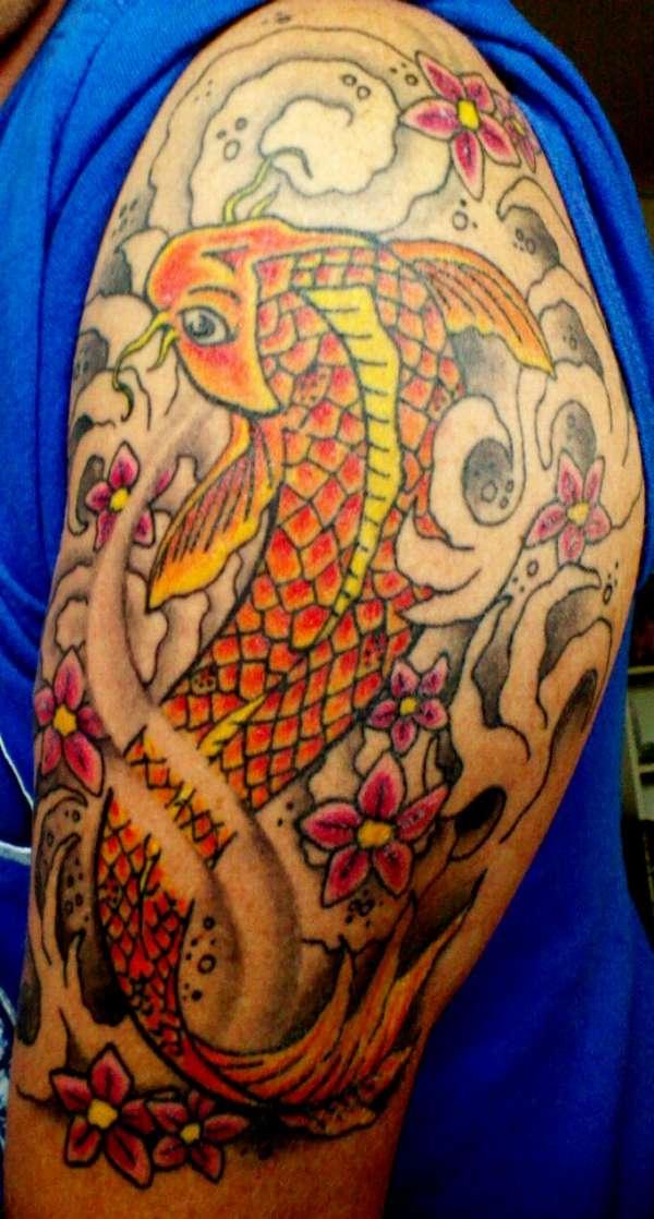 Chest To 1 4 Sleeve Koi Fish And Lotus Tattoo: 1/4 Koi Sleeve Tattoo