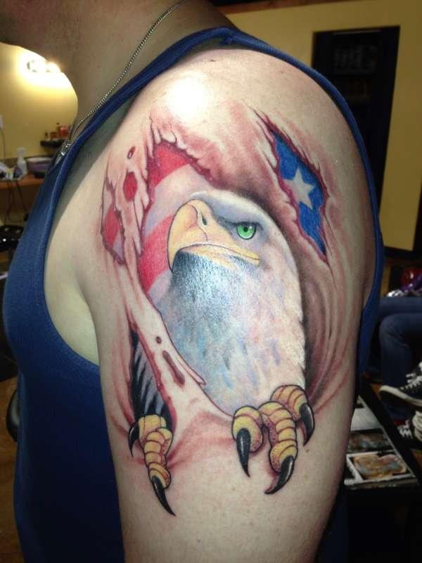 eagle and flag skin tear tattoo