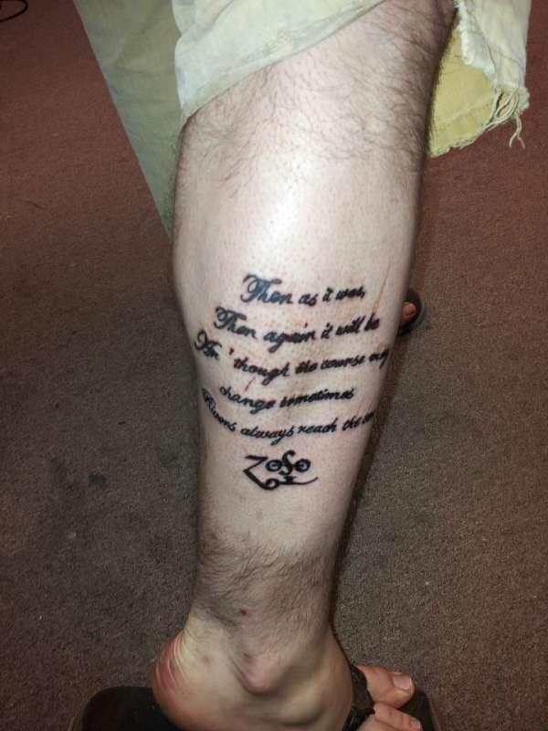 Ten Years Gone tattoo