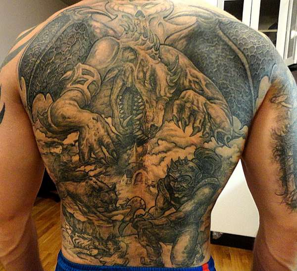 dragon, warrior,wolfs tattoo
