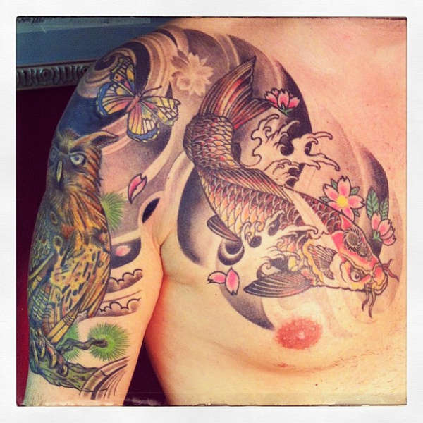 Koi & Owl by Thors10 tattoo
