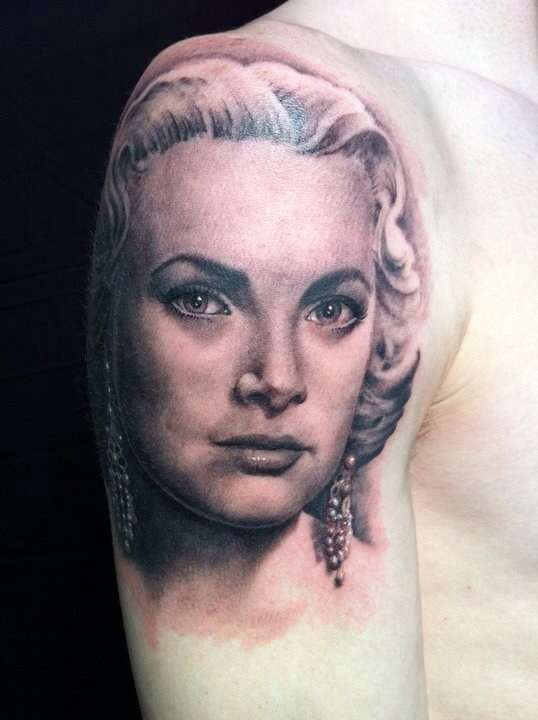 Grace Kelly portrait tattoo
