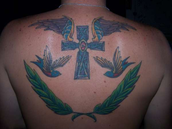 cross w/birds & wreath tattoo