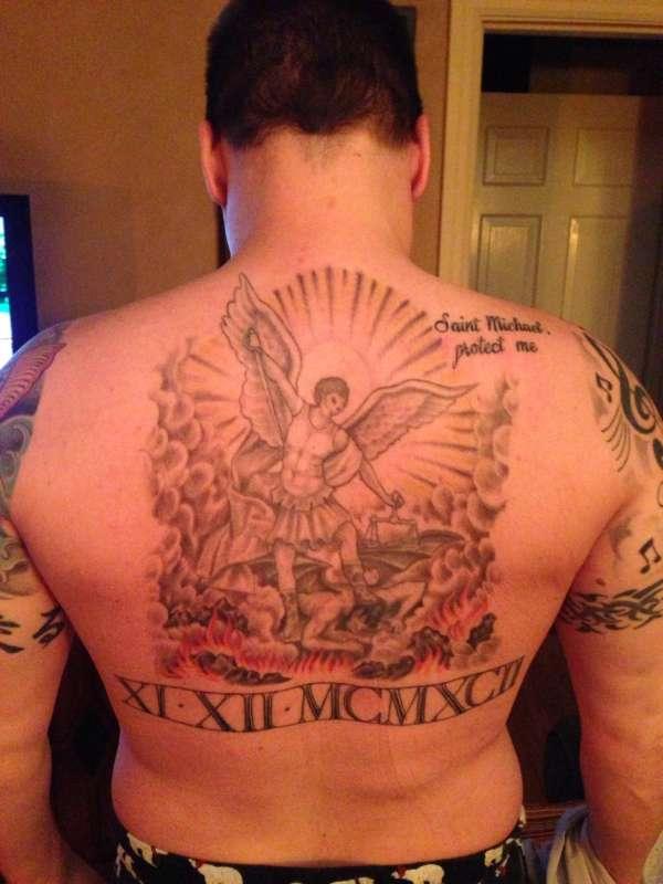 St Michael Back Tattoos: Saint Michael Back Piece Tattoo