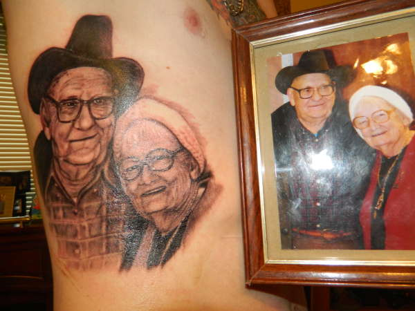 portrait tribute to grandparents tattoo