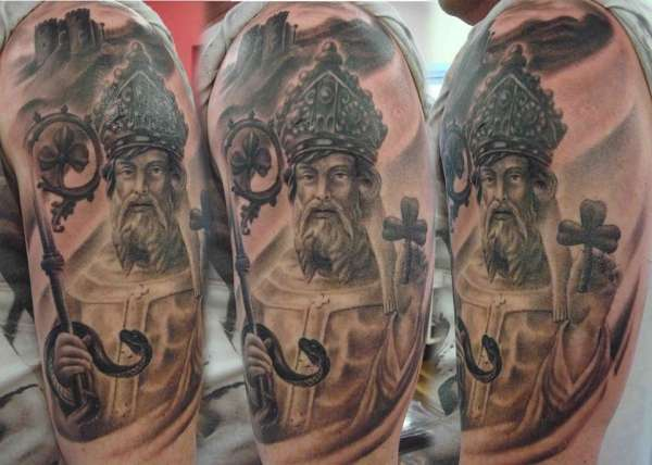 St Patrick half sleeve tattoo