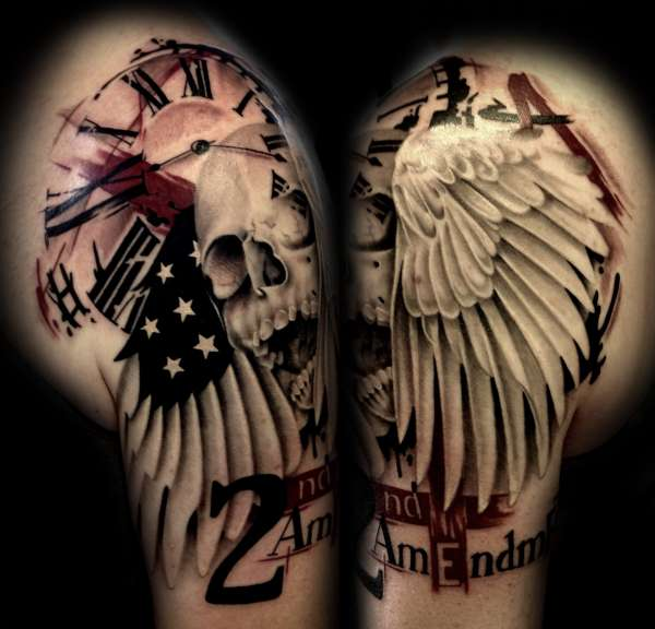 Skull, wing, clock, flag, 2nd amendment tattoo