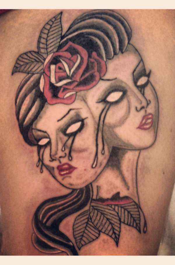 two face tattoo girl