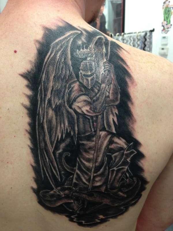 Mid-Evil Angel Knight tattoo