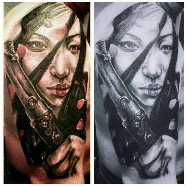 Oriental samurai geisha tattoo for Female samurai tattoo