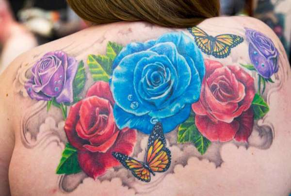 Rose & butterfly tattoo