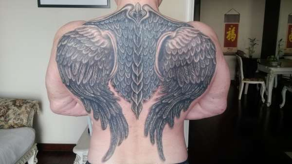 "3D Fleur Di Lis, ""Wings & Armor tattoo"