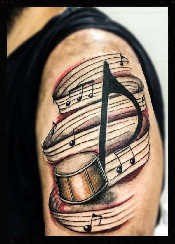 Drum Note tattoo