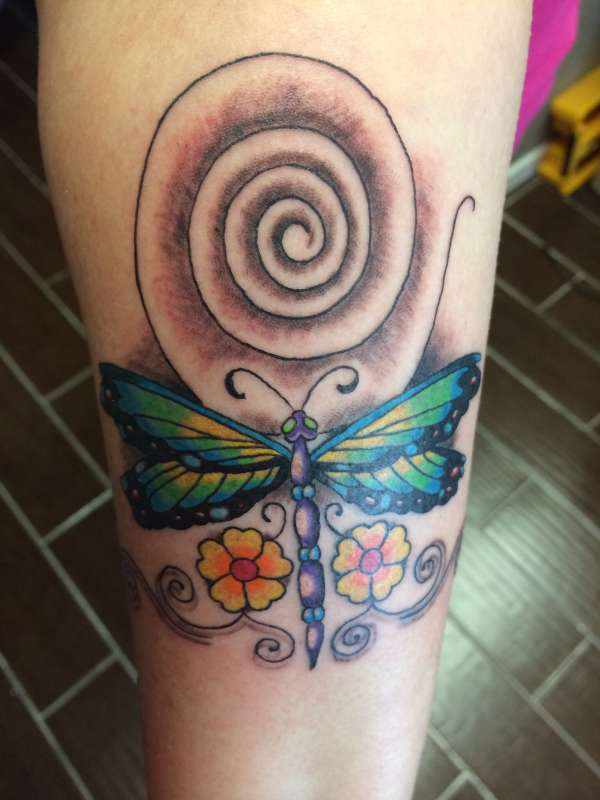 dragonfly and Celtic spiral tattoo