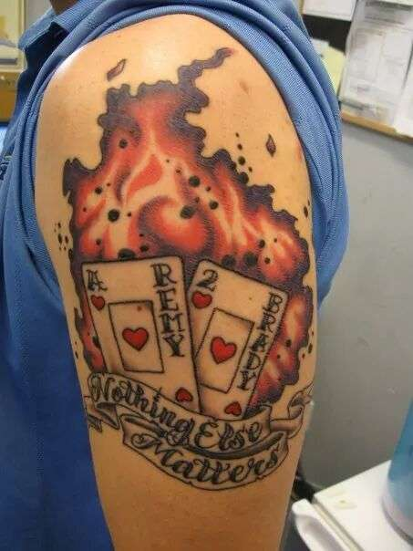 flaming cards tattoo