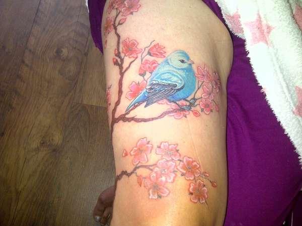4e59ae446 top of leg cherry blossom & bird tattoo