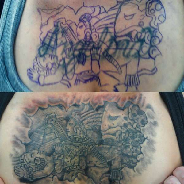 CHEST PIECE COVER UP-WRITING Tattoo