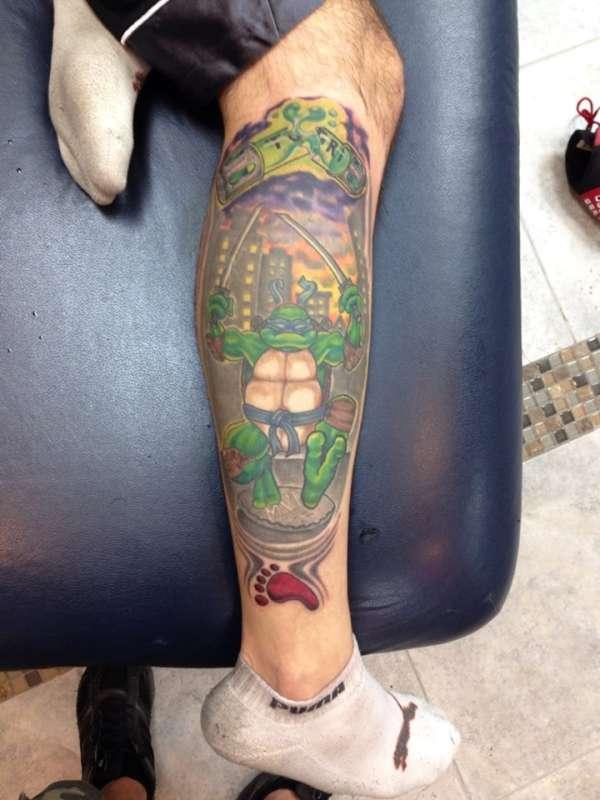 Ninja turtle leonardo calf tattoo for Ninja turtles tattoo