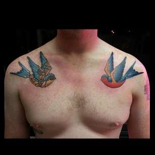 traditional and steampunk swallows tattoo
