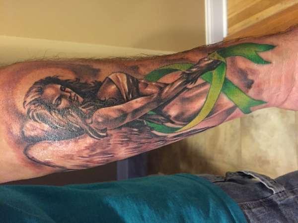 Angel With Lymphoma Ribbon Tattoo
