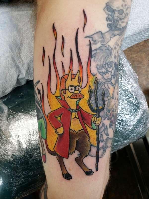 Devil Flanders tattoo