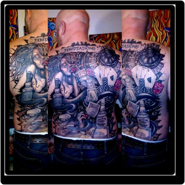 Temptations back piece tattoo